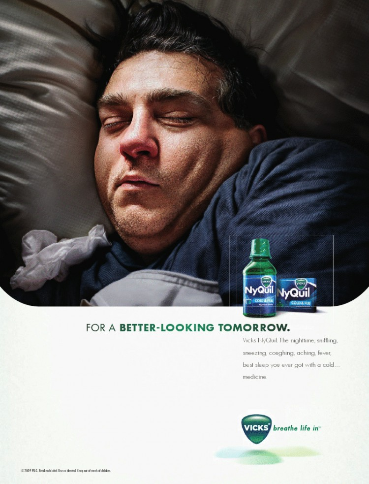 NyQuil print campaign photographed by Olaf Blecker for Publicis